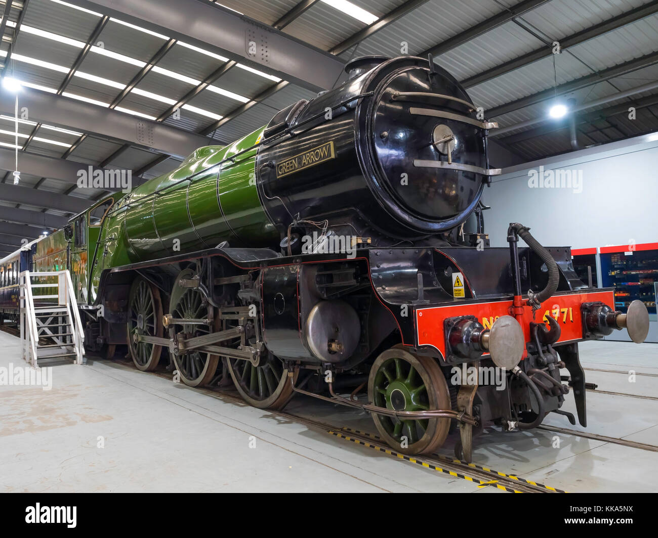 Ex-LNER V2 class steam locomotive engine Green Arrow on display at the NRM Shildon UK - Stock Image