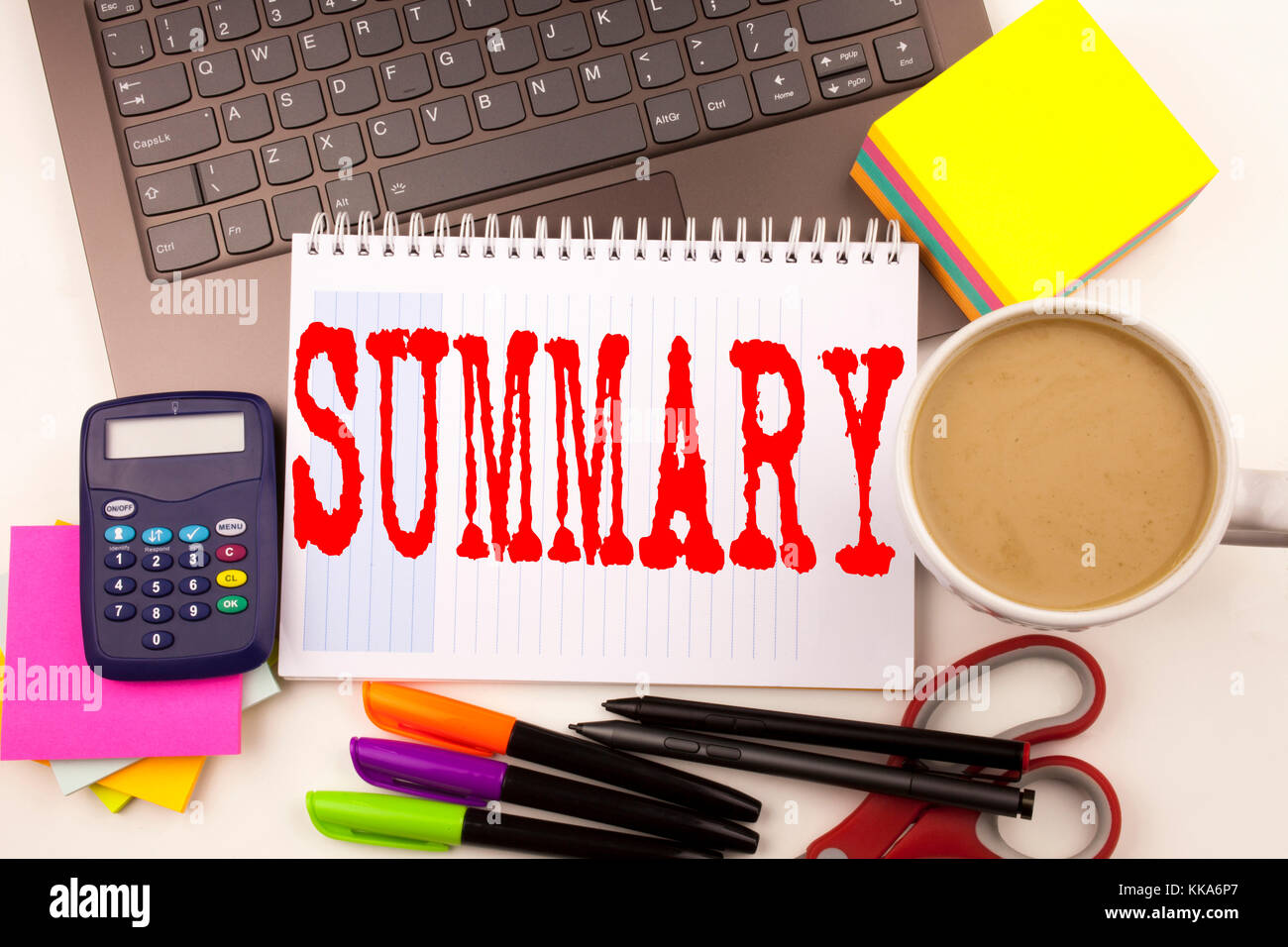 Word writing Summary in the office with laptop, marker, pen, stationery, coffee. Business concept for Brief Review - Stock Image