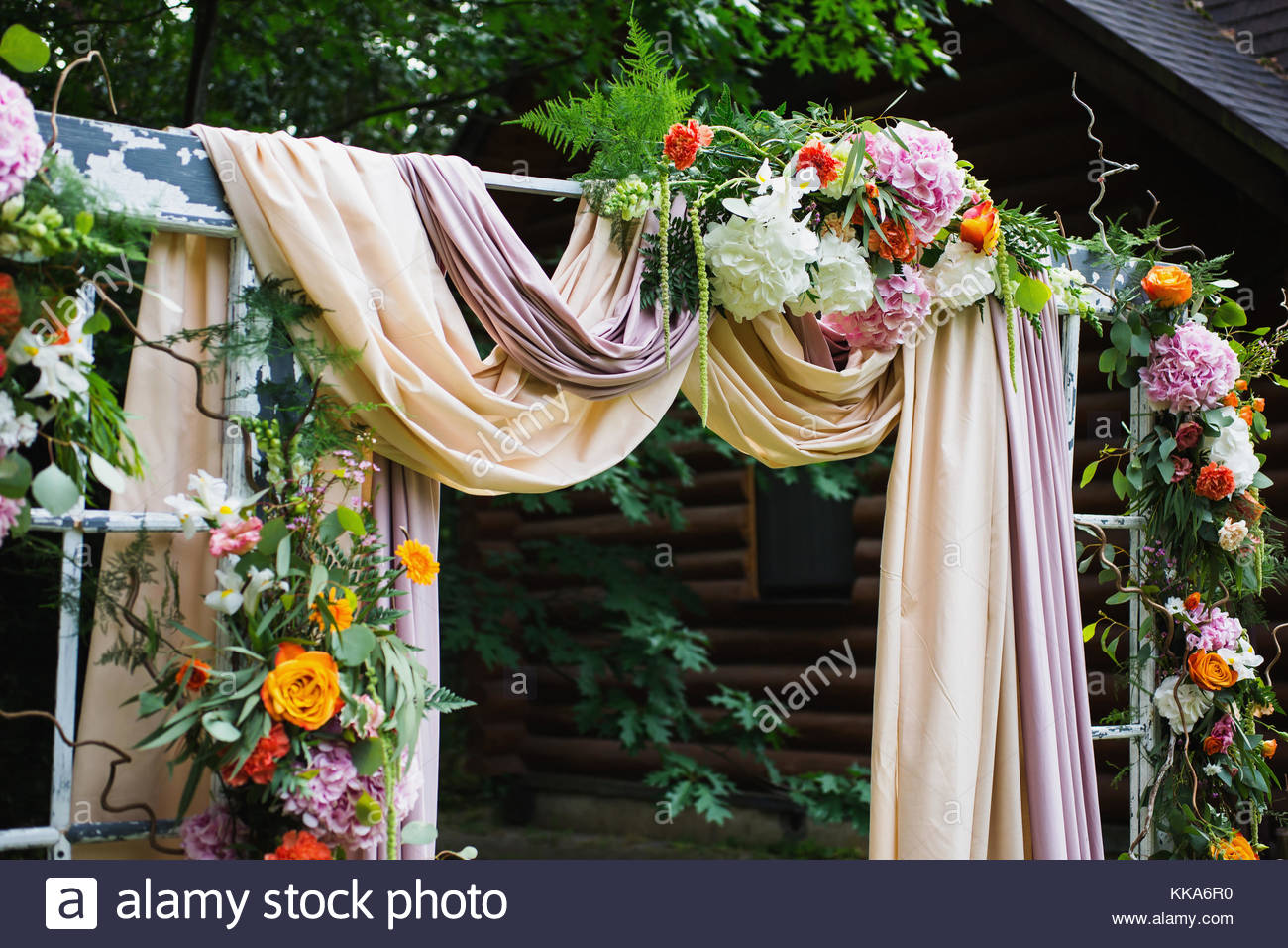 Beautiful Wedding Ceremony Outdoors Arch Made Of Cloth And White Pink Flowers On A Green Natural Background Old Doors Rustic Style