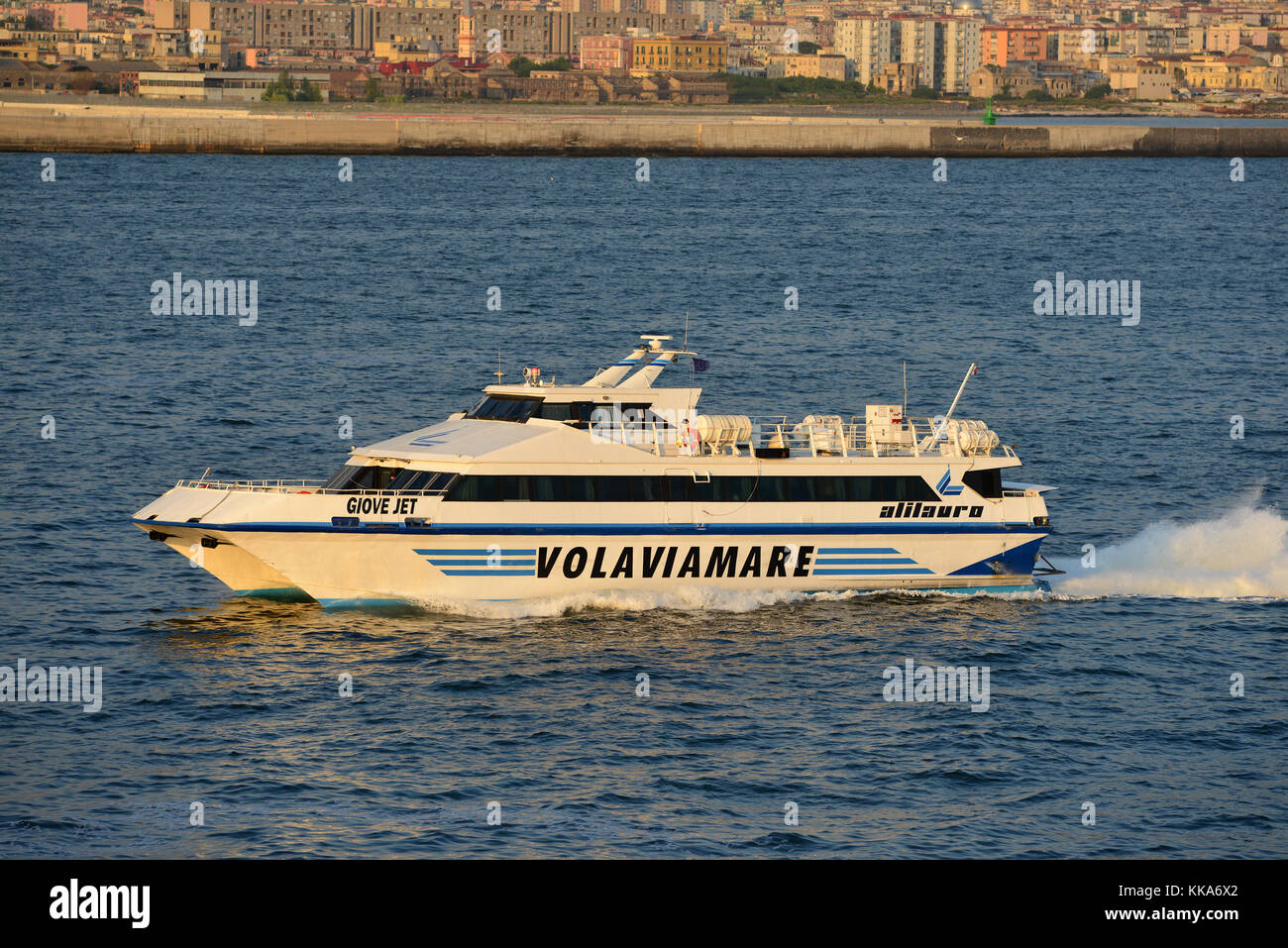Giove Jet fast catamaran ferry arriving in Naples, Italy - Stock Image