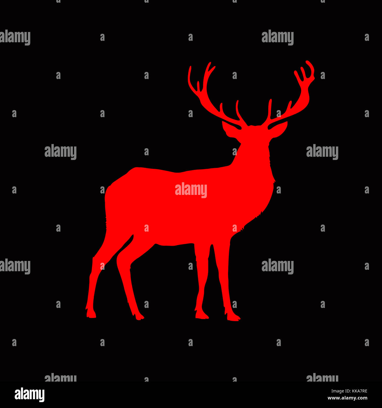 Red silhouette of reindeer with big horns isolated on black background. Vector illustration, icon, clip art, sign, - Stock Image