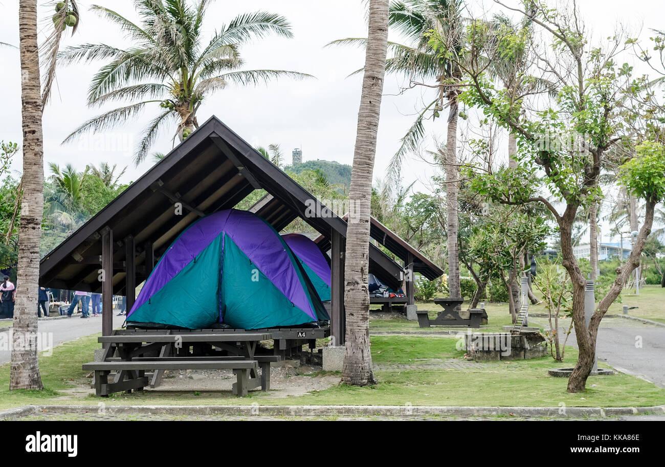Camping - Taiwanese Style - Stock Image