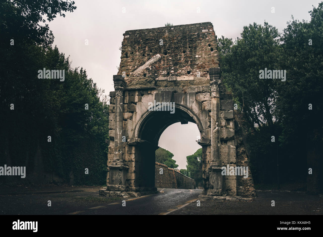 The Arch of Drusus is an ancient arch in Rome, Italy, close to the First Mile of the Appian Way and next to the - Stock Image