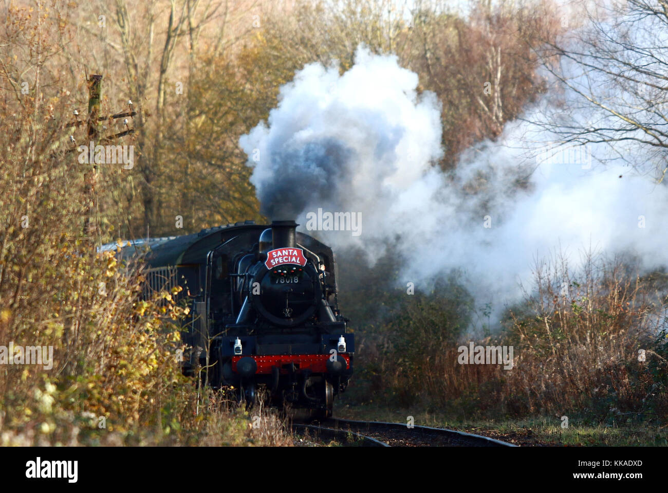 Peterborough, UK. 29th Nov, 2017. The Santa Special steam locomotive train 78018 has begun it's Christmas service Stock Photo