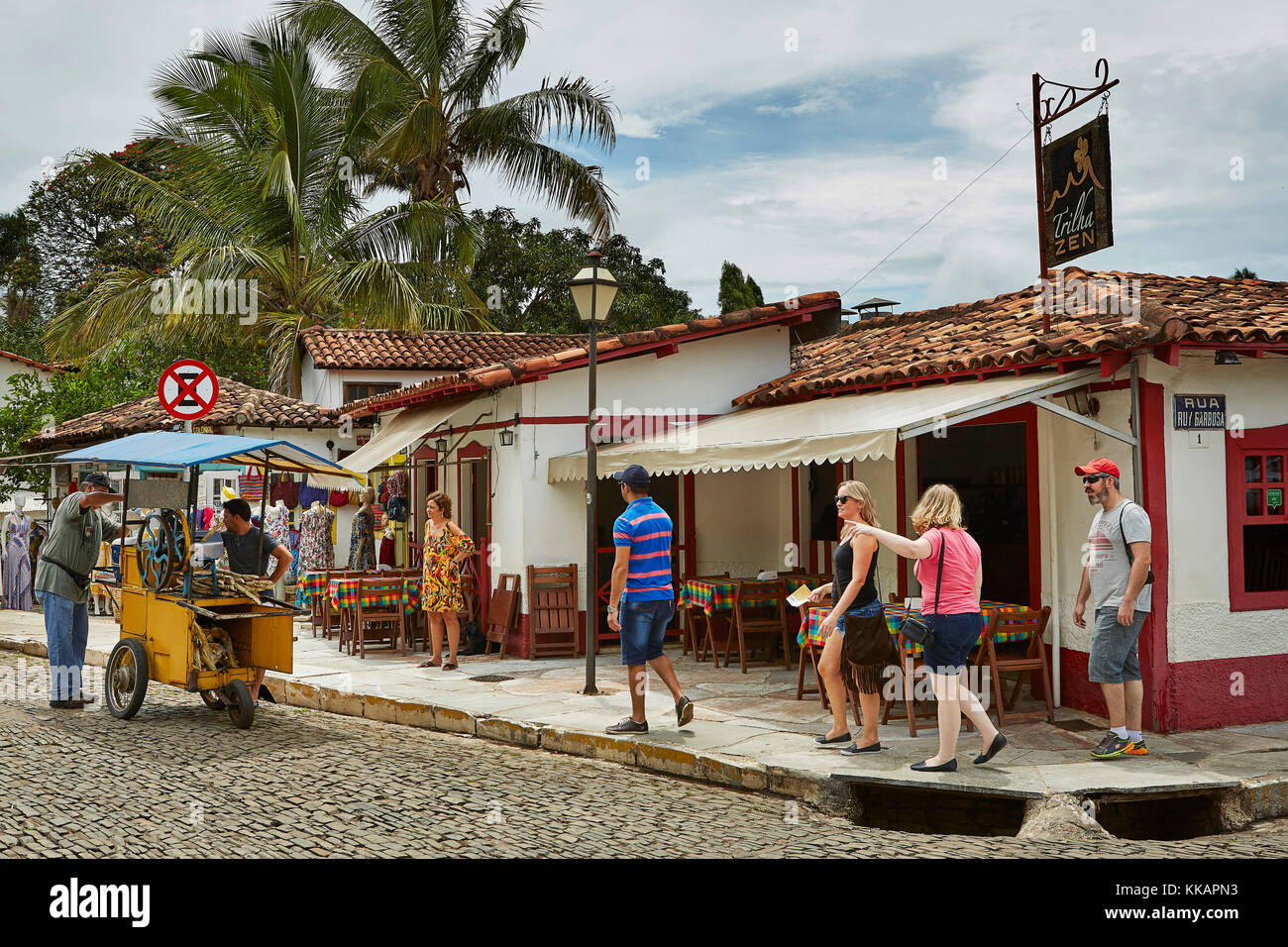 Colonial architecture in the old town, Pirenopolis, a town located in the Brazilian state of Goias, Brazil, South - Stock Image