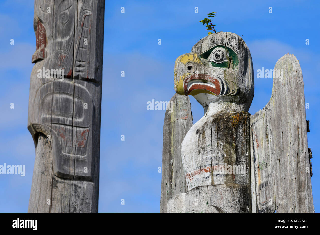 Thunderbird, First Nation Totem Pole, Namgis Burial Grounds, Alert Bay, Inside Passage, British Columbia, Canada, - Stock Image