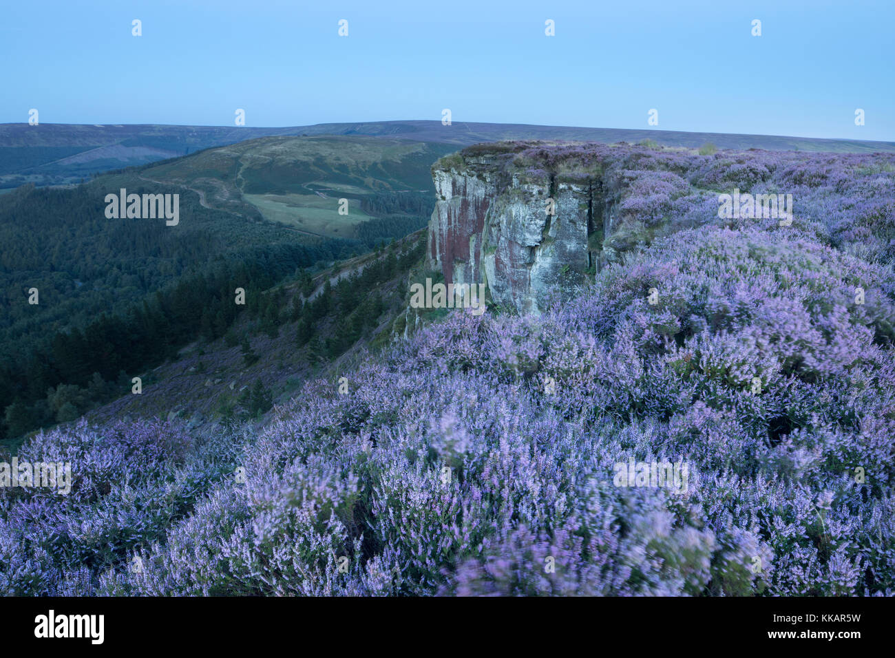 The rocky outcrop of Hasty Bank photographed in twilight. Hasty Bank, Cleveland Hills, North York Moors, North Yorkshire, - Stock Image