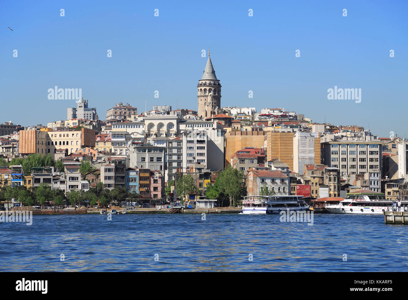 Galata Tower, Golden Horn, Beyoglu District, Istanbul, Turkey, Europe - Stock Image