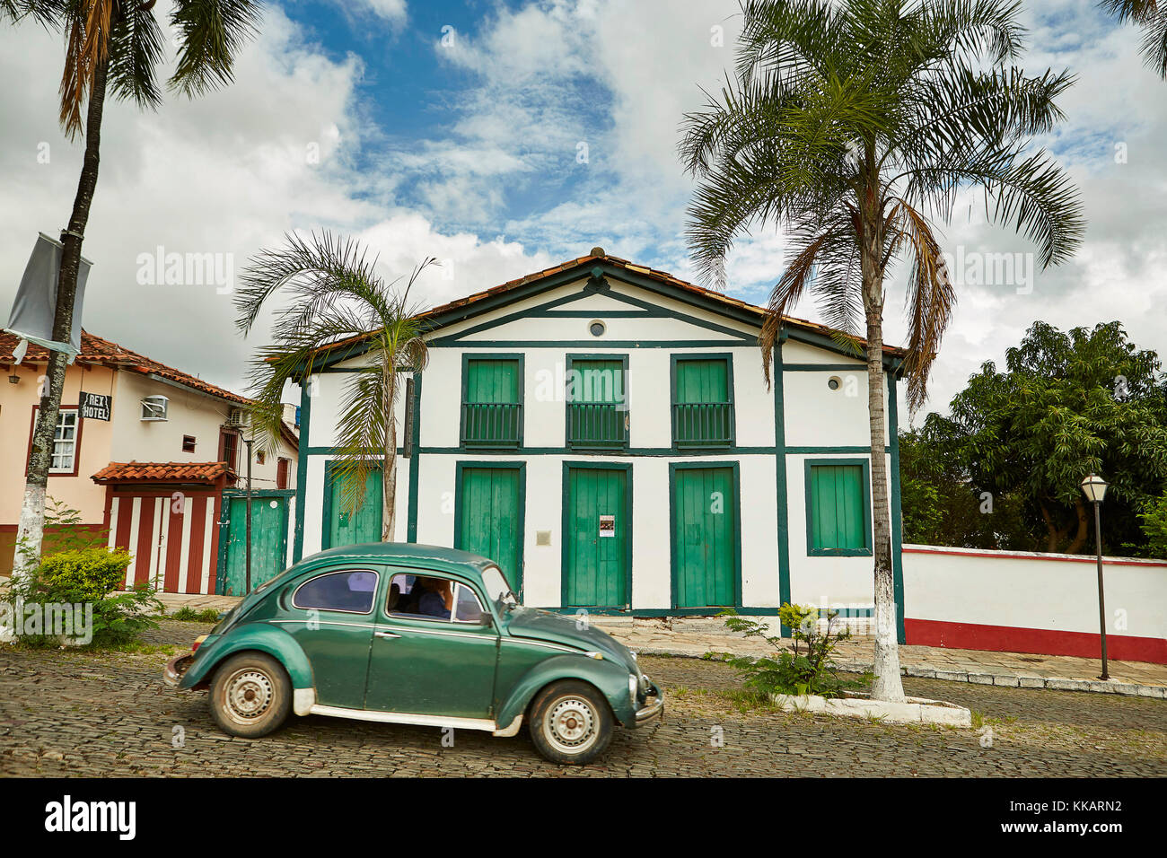 Colonial architecture in the old town with iconic VW Beetle car, Pirenopolis, Goias state, Brazil, South America - Stock Image