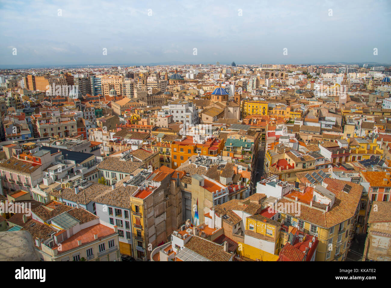 The view over Valencia from Valencia Cathedral, Valencia, Spain, Europe - Stock Image