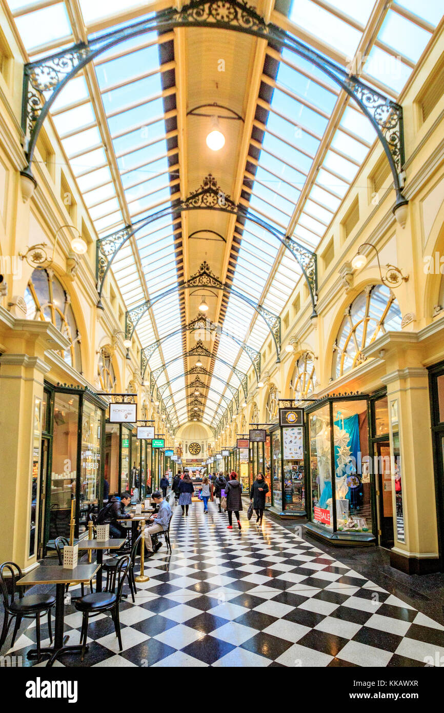 Australia, Bourke Street, Melbourne, Royal Arcade, Victoria, central business district, historic, shopping - Stock Image