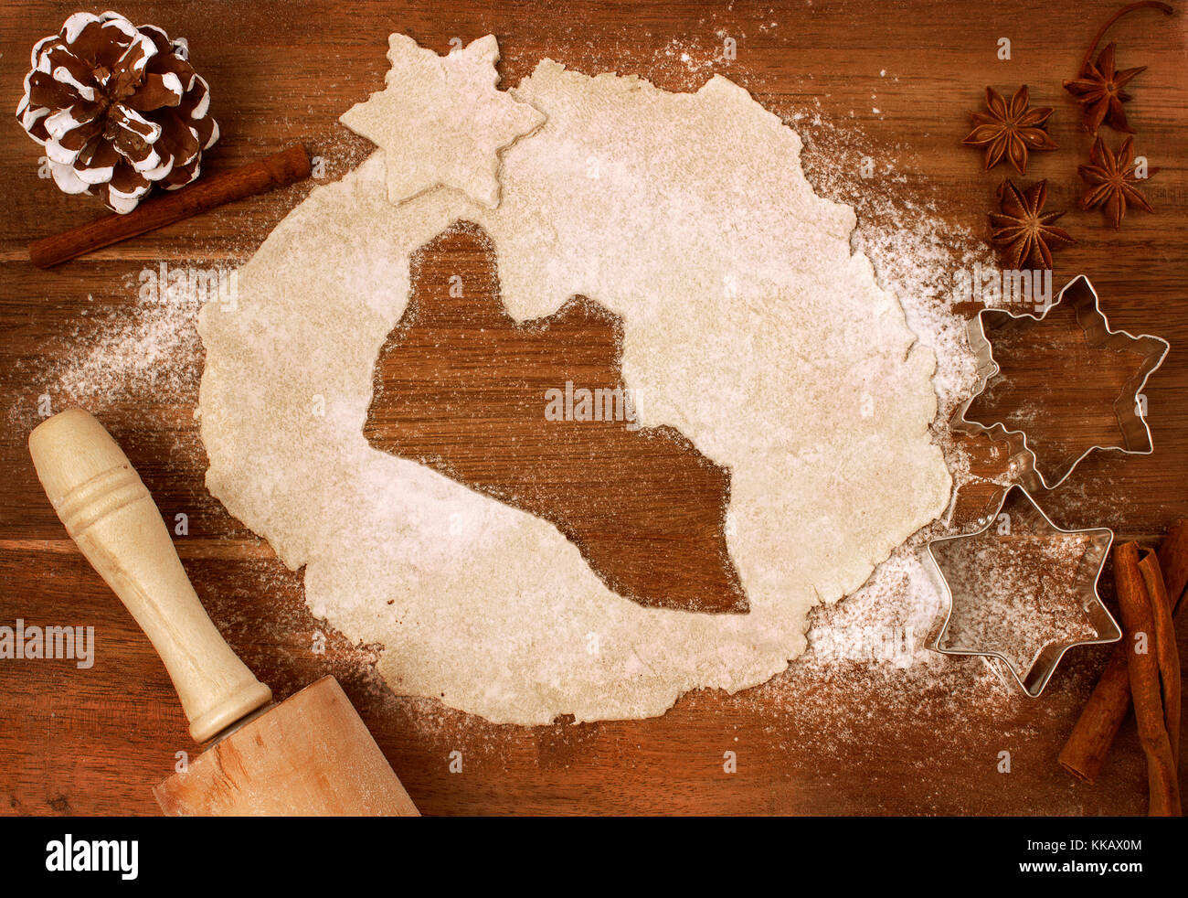Festive cookie dough with the shape of Liberia cut out (series) - Stock Image