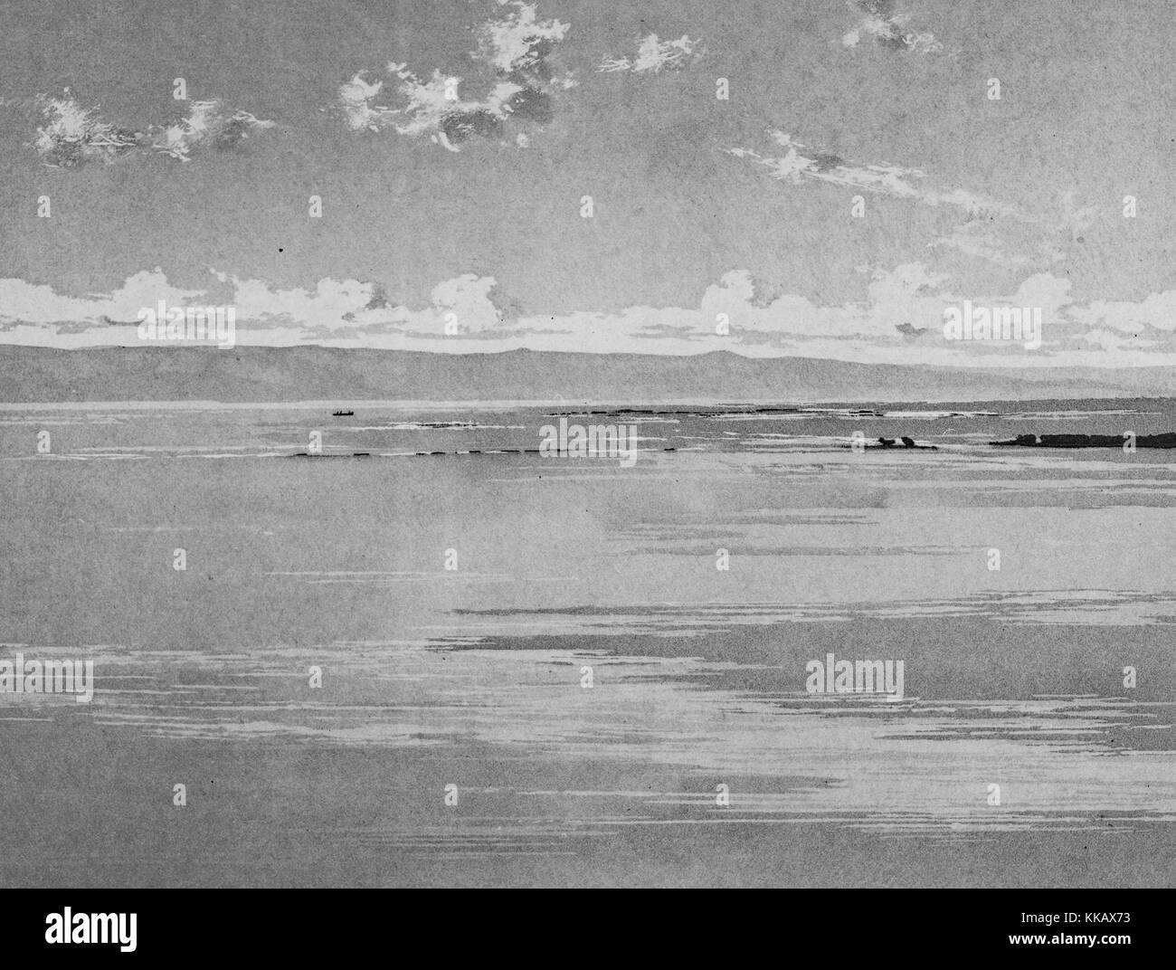 Black and white photograph of a shoreline, dunes in the background, captioned 'Tyr, brise-lames du Port Egyptien, - Stock Image