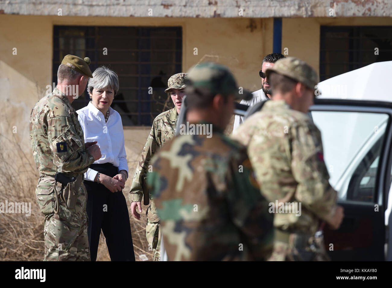 Prime Minister Theresa May meets British troops training Iraqi security forces at Camp Taji near Baghdad, Iraq, - Stock Image