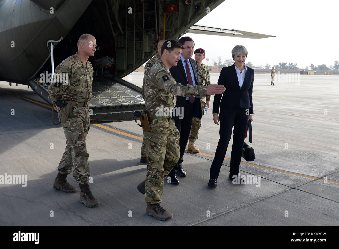 Prime Minister Theresa May arrives at Camp Taji near Baghdad, Iraq, during her visit to the Middle East. - Stock Image