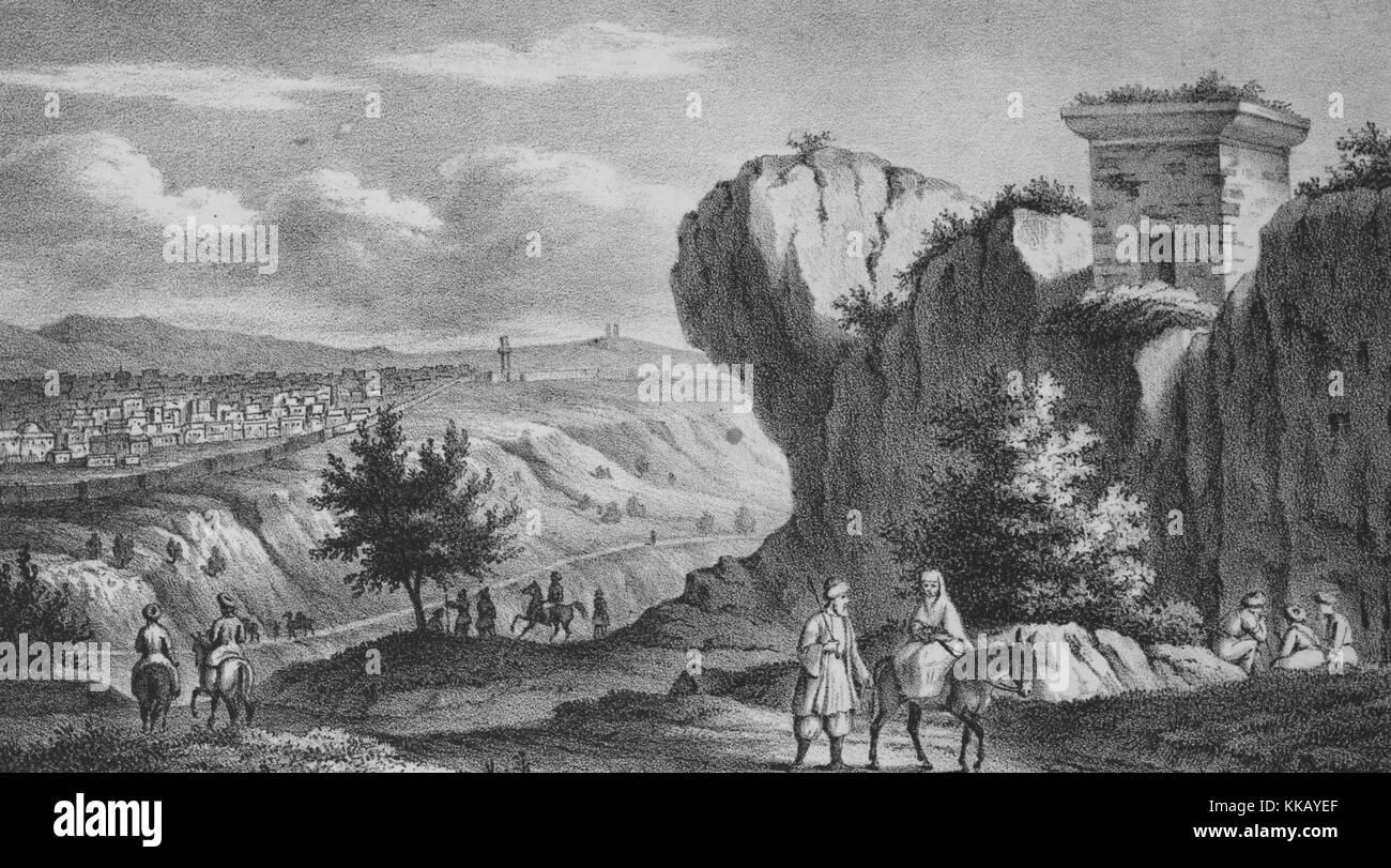 An engraving showing a Palestinian landscape, a woman is riding on the back of a donkey while a man walks beside Stock Photo