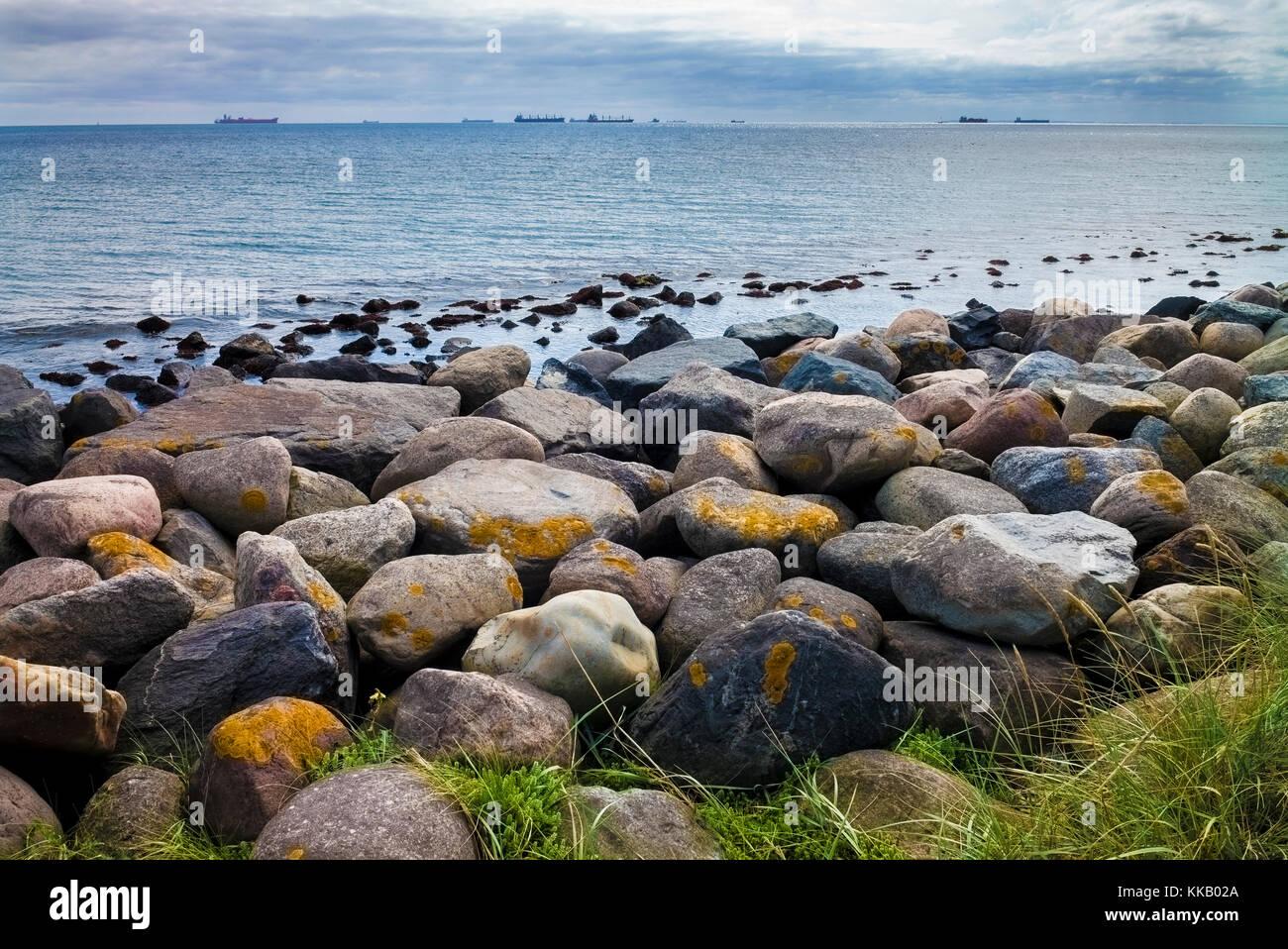 oil tankers off Skagen beach peninsula Headland, meeting of the North Sea and the Baltic Sea, Grenen, Skagen, Jutland, - Stock Image