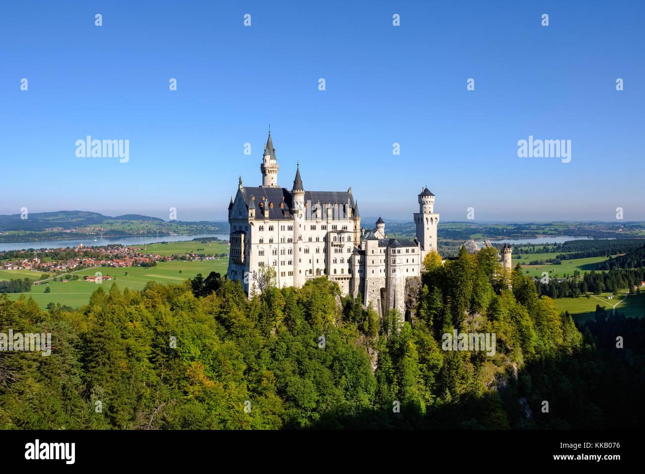 Neuschwanstein Castle, in the back Forggensee, Schwangau, Königswinkel, Ostallgäu, Allgäu, Swabia, Bavaria, Germany Stock Photo
