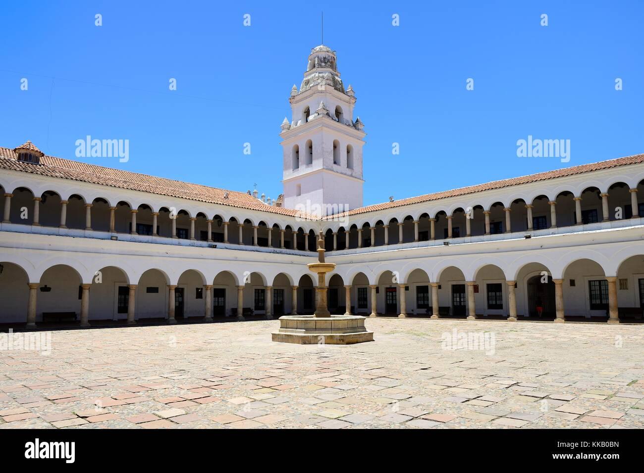 Courtyard of the University, Universidad Mayor Real y Pontificia de San Francisco Xavier de Chuquisaca, Sucre, Bolivia - Stock Image