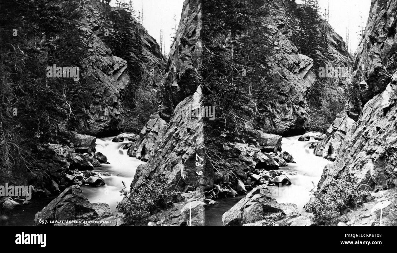Stereograph of cascades in the canyon of La Plata Creek, Chaffee County, Colorado. Image courtesy USGS. 1873. - Stock Image