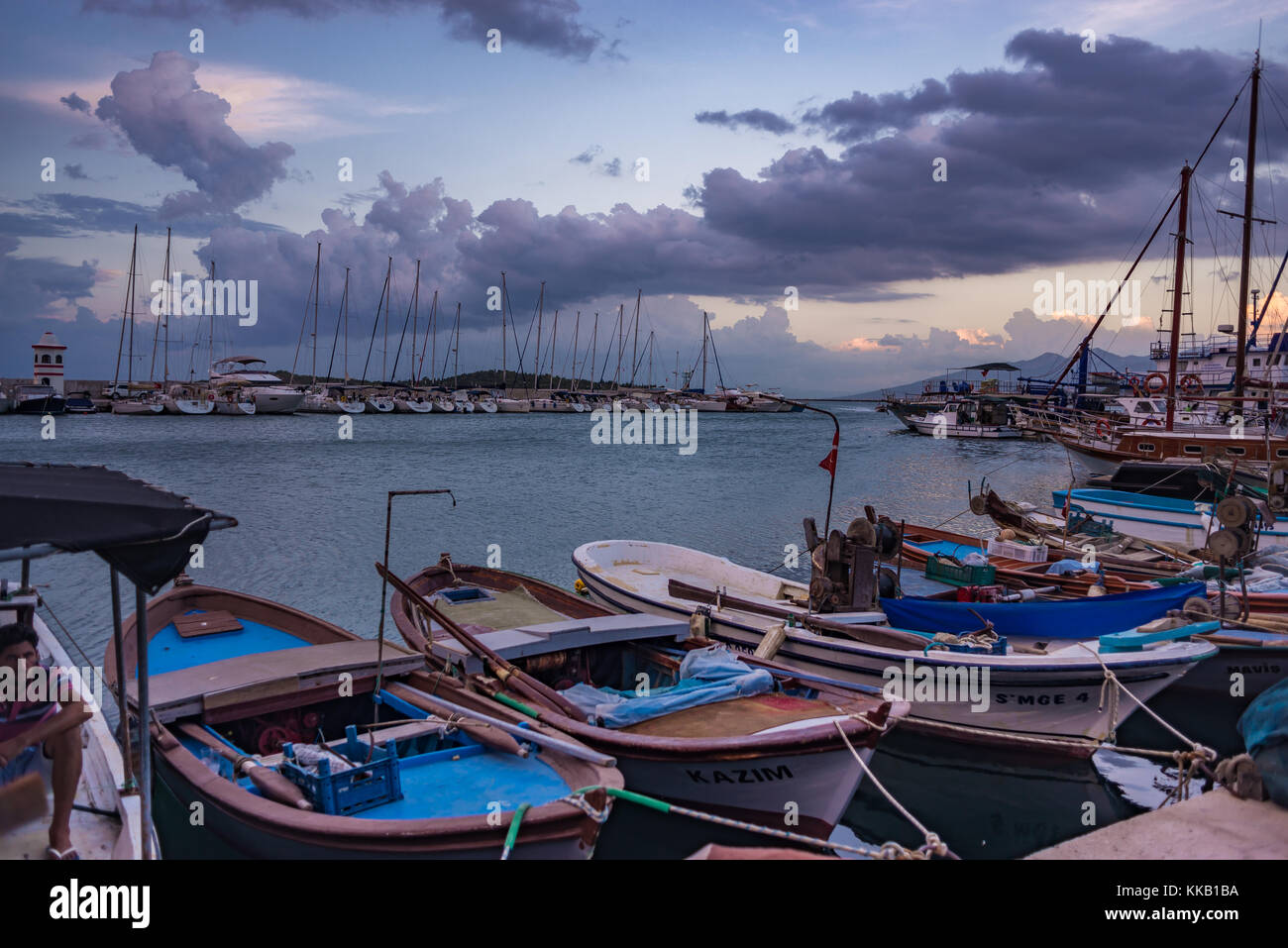 July 27, 2017 - Urla, Izmir province, Turkey: View at Iskele at night - Stock Image