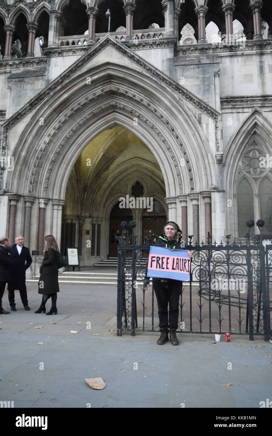 Lauri Love Appeal at the Royal Court of Justice, 29th November, 2017. London, UK - Stock Image