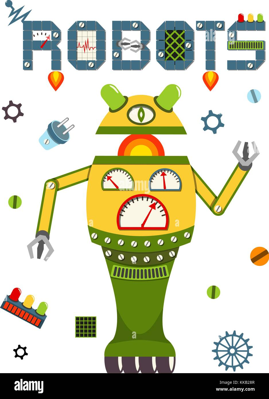 Bright Colorful Poster With Vintage Robot And Tech Stock Vector