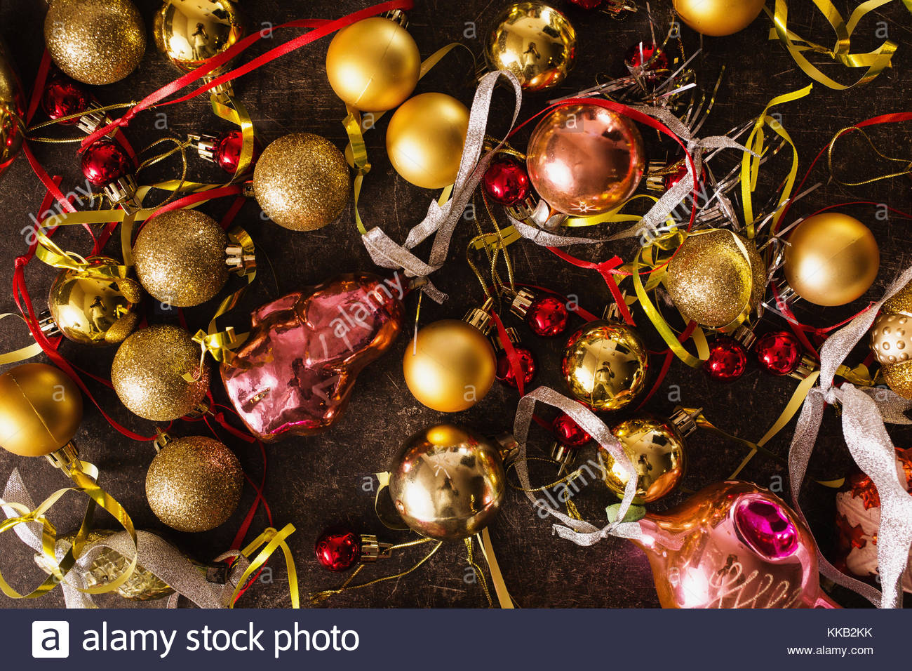Colored Christmas toys on the table. Celebrate the New Year. - Stock Image