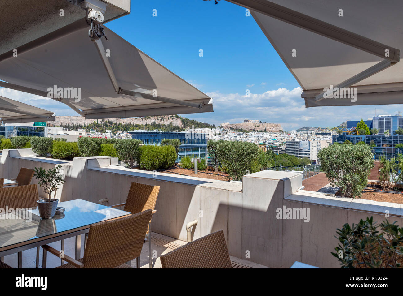 View over the city looking towards the Acropolis from the terrace of the Executive Lounge, Athenaeum Intercontinental - Stock Image