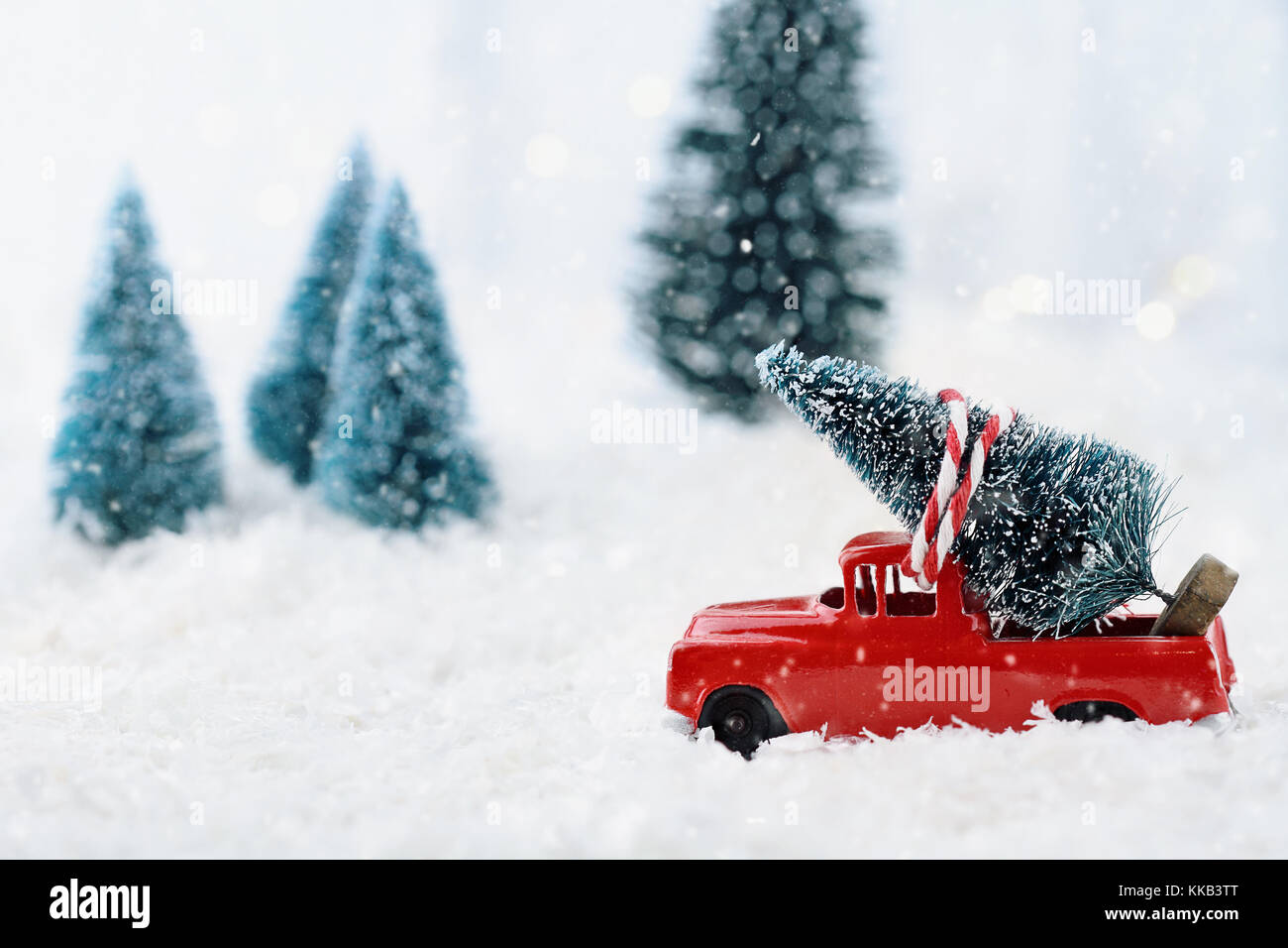1950 S Antique Vintage Red Truck Hauling A Christmas Tree Home Stock