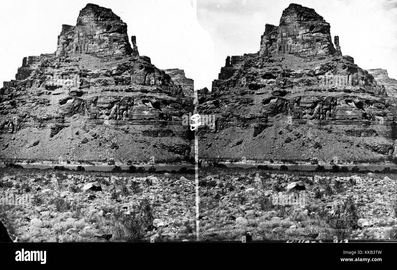 Stereograph of the Canyon of Desolation near the Green River, Utah. Image courtesy USGS. 1875. - Stock Image
