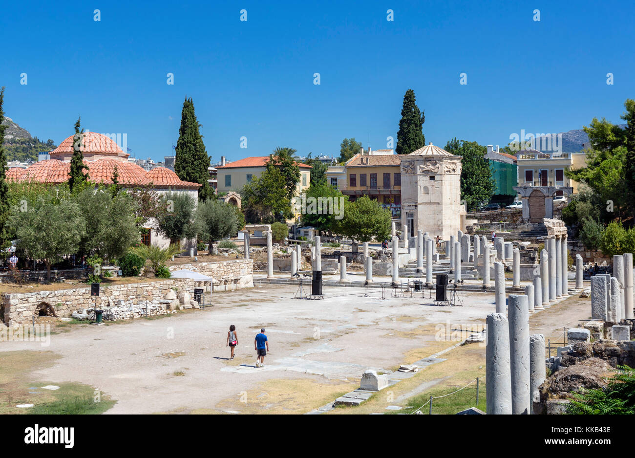 Roman Forum looking towards the Tower of the Winds, Athens, Greece - Stock Image