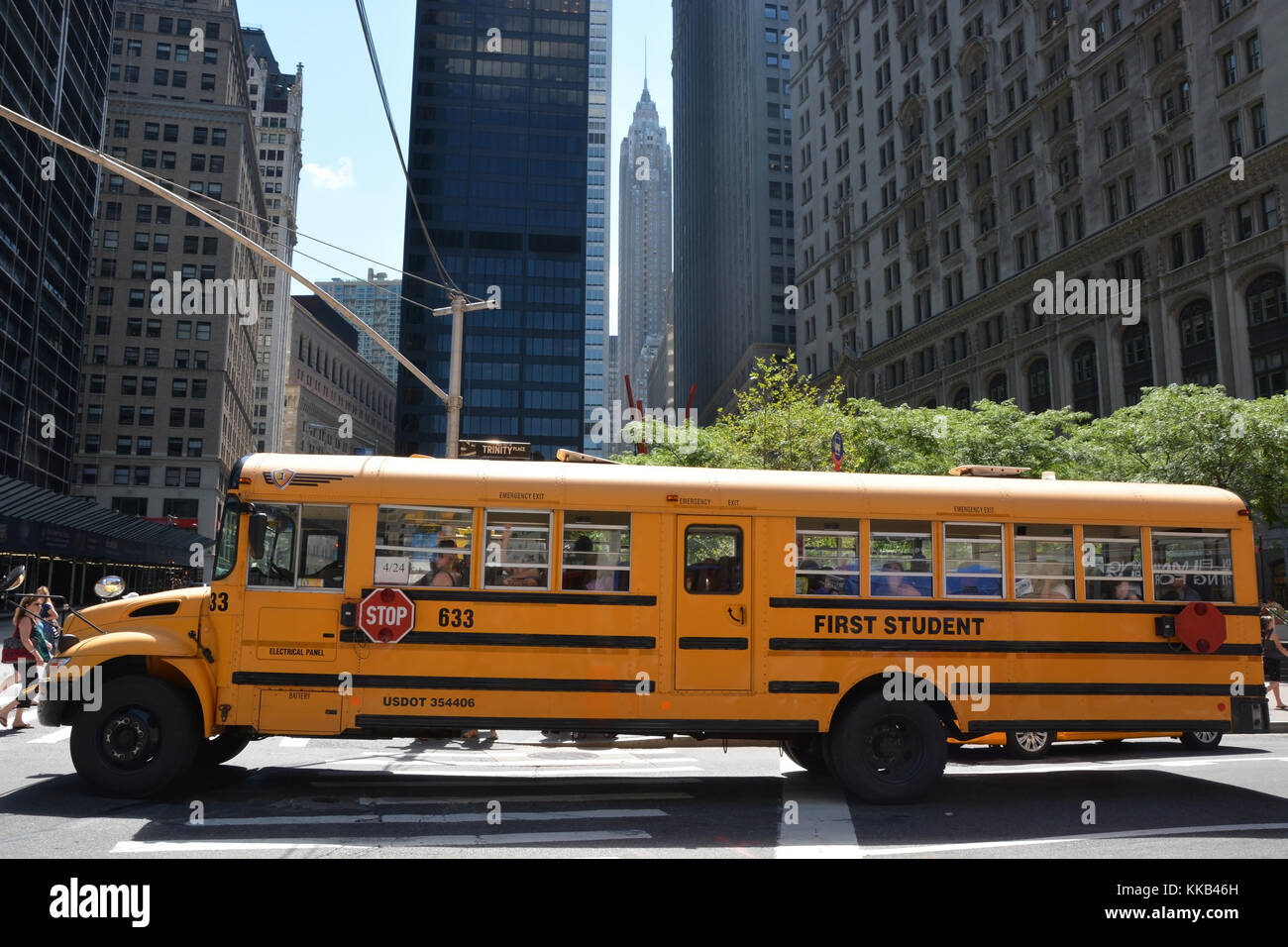 NEW YORK CITY - AUGUST 07  School bus in Manhattan, NY on August 07, 2013  NYC School Bus Drivers union 1181 still Stock Photo