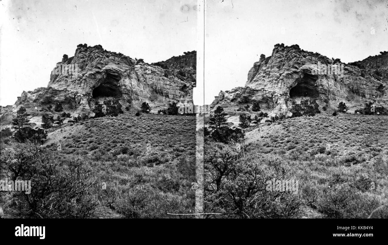 Natural cave, mouth of Henrys Fork, Daggett County, Utah. Image courtesy USGS. 1870. - Stock Image