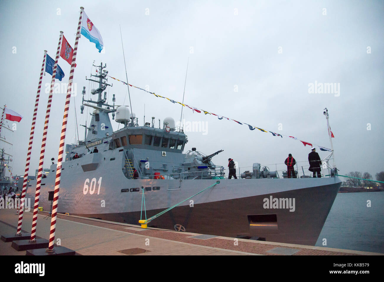 ORP Kormoran, Kormoran II class minehunter, the newest Polish Navy vessel, during the ship commissioning in Gdynia, - Stock Image