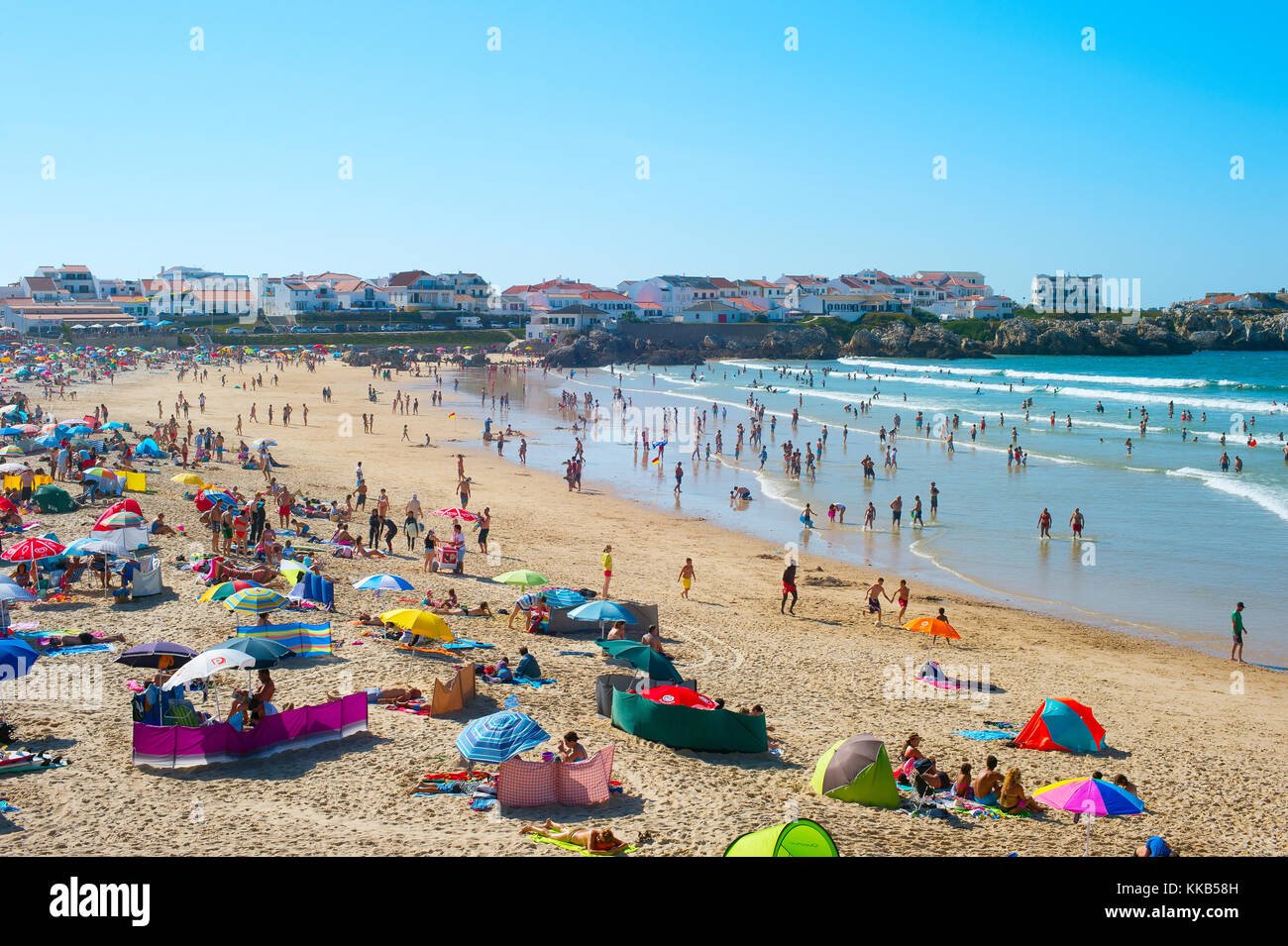 BALEAL, PORTUGAL - JUL 30, 2017: Crowded ocean beach in a high peak season. Portugal famous tourist destination - Stock Image