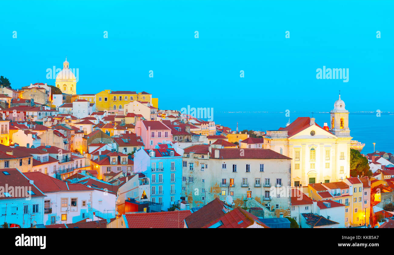 Skyline of Lisbon Old Town at dusk. Portugal - Stock Image