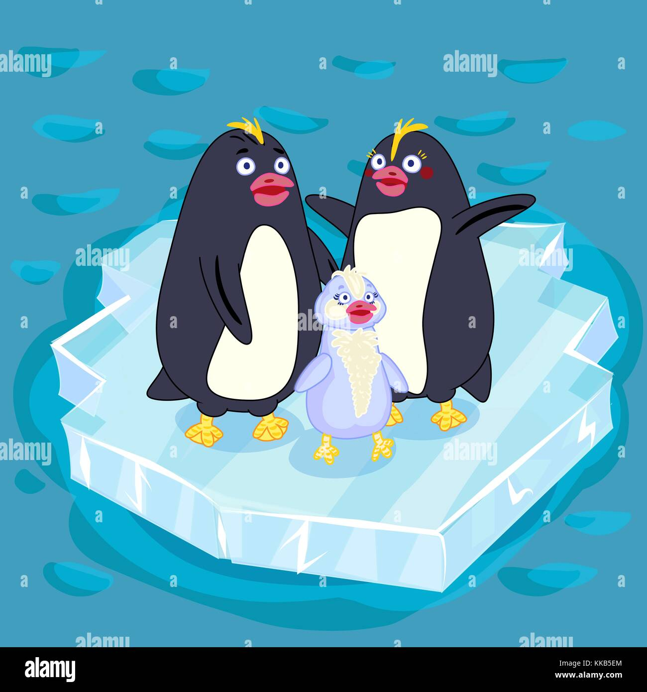 Fun color children's vector illustration . A family of Arctic penguins on the ice. Mother penguin. Papa penguin. - Stock Vector
