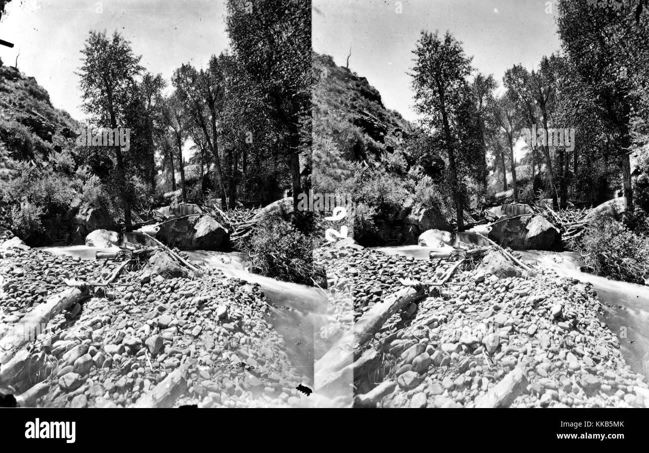Stereograph of a small side canyon to Red Canyon on the Green River, Daggett County, Utah. Image courtesy USGS. - Stock Image