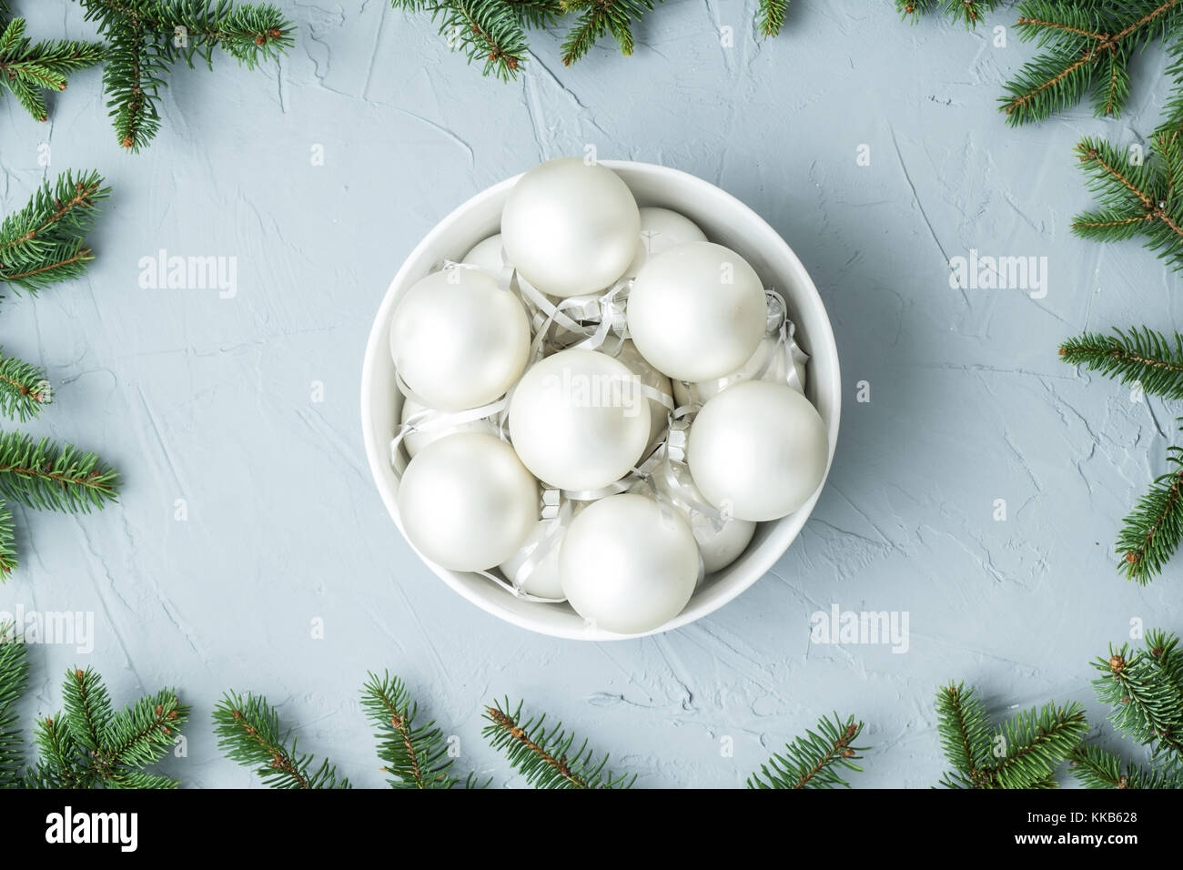 Christmas decoration with spruce twigs and copy space - Stock Image