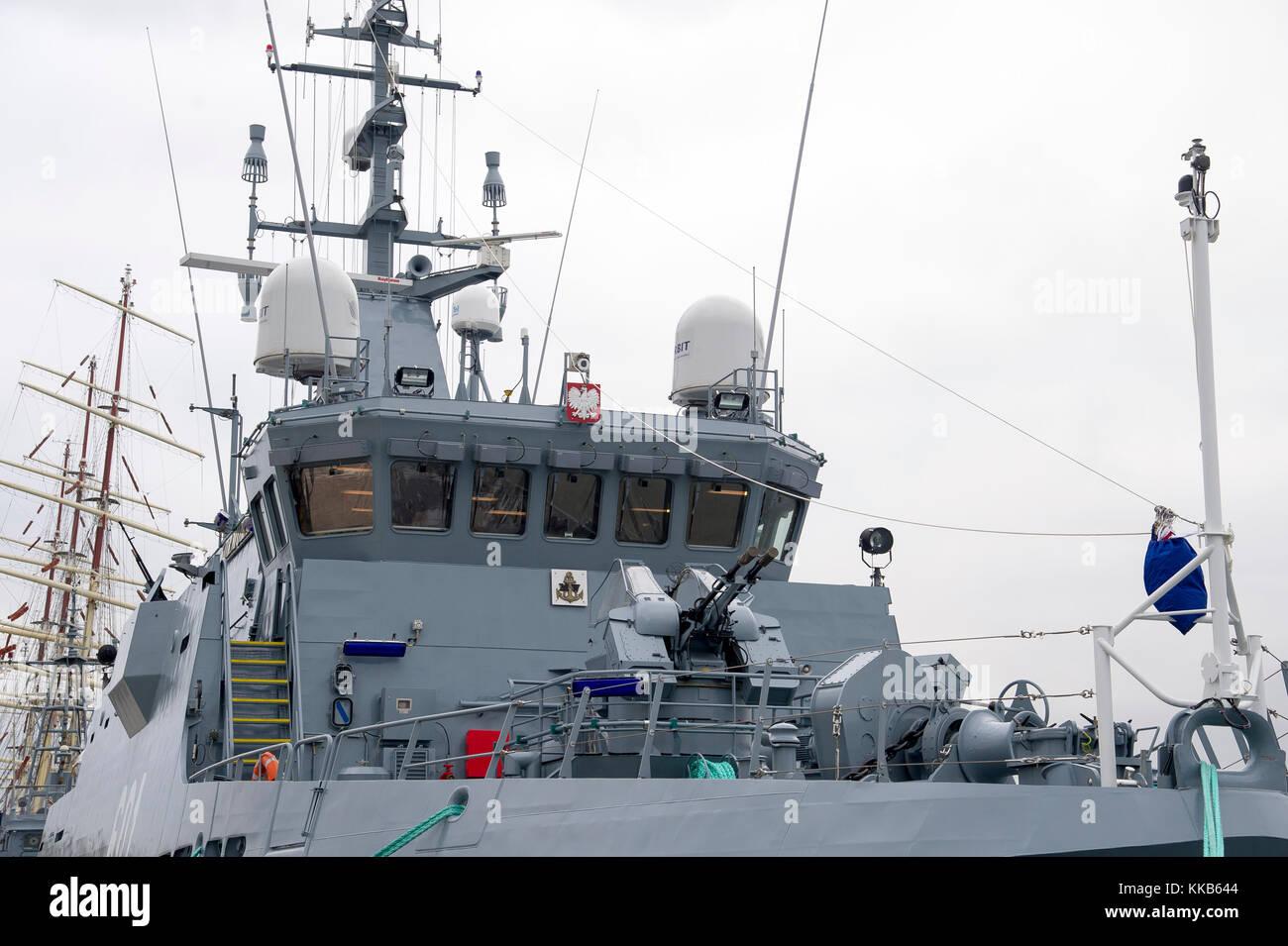 ORP Kormoran, Kormoran II class minehunter, the newest Polish Navy vessel, in Gdynia, Poland. 27 November 2017  - Stock Image