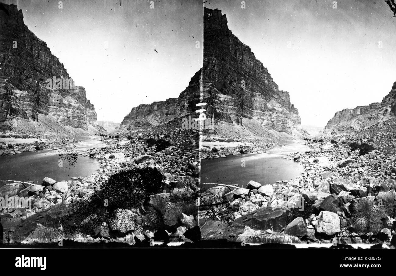 A stereograph of the Green River flowing through the Canyon of Desolation, Utah, 1875. Image courtesy USGS. - Stock Image