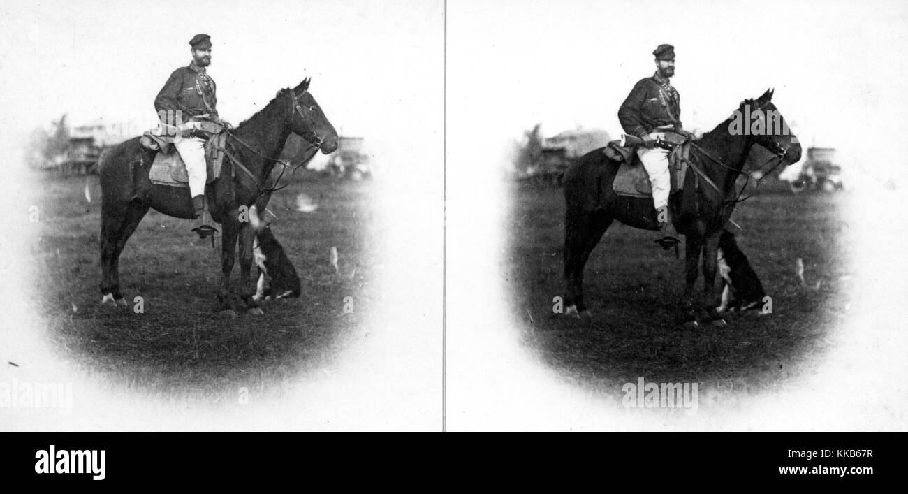 A stereograph of a USGS employee employee identified as L.A. Bartlett mounted on horseback, 1870. Image courtesy - Stock Image