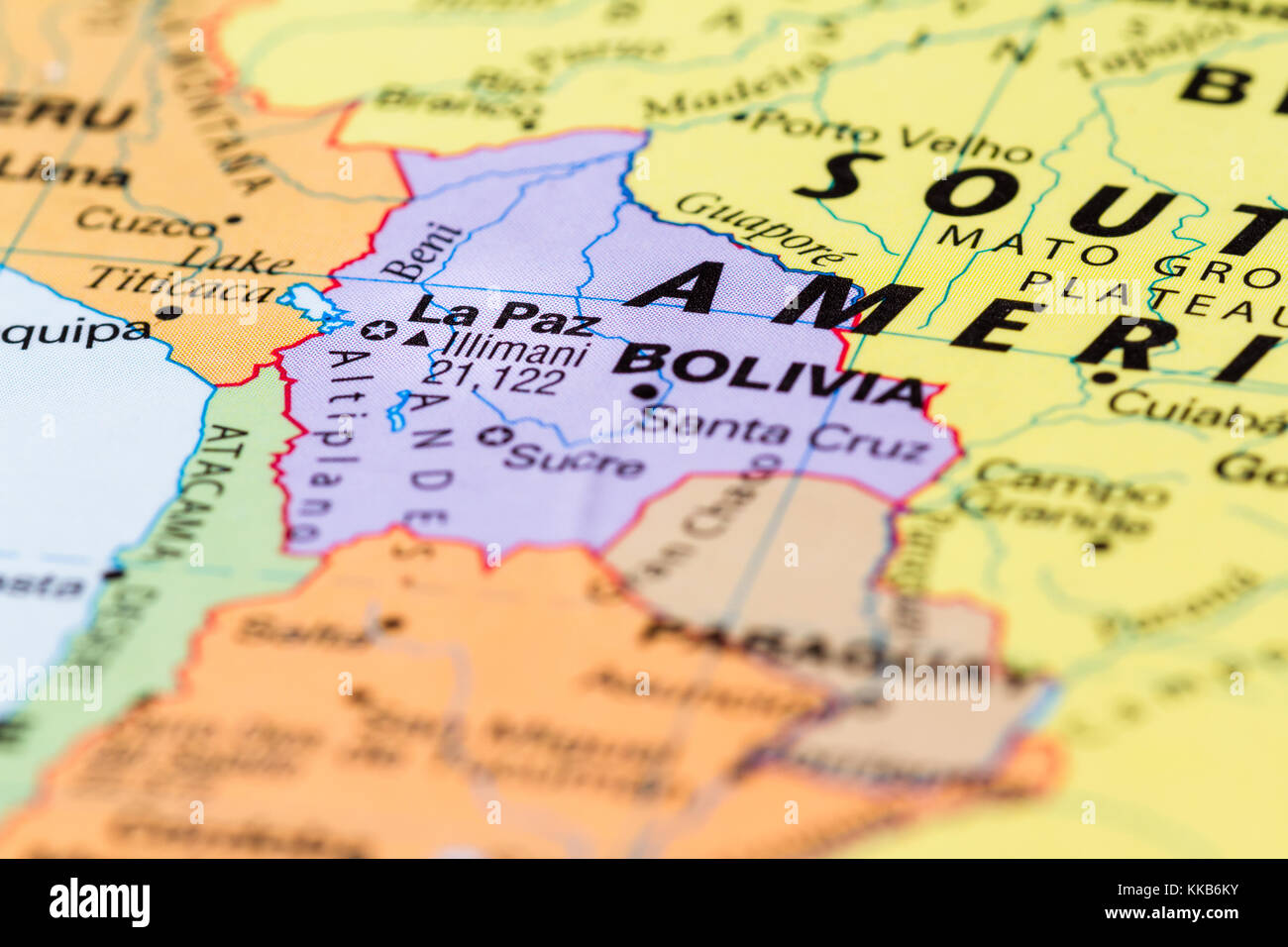 Picture of: Close Up Of The City Of La Paz Bolivia On A World Map Stock Photo Alamy