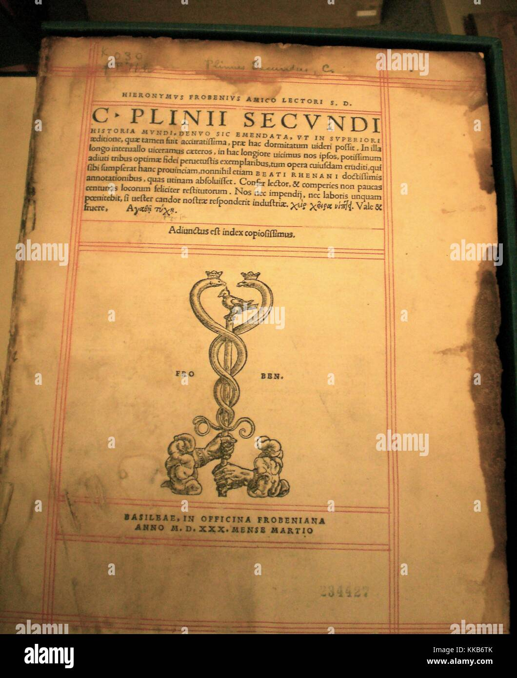 The title page of the Historia Mundi by Plinius Secundus, the 484 year old book is part of the USGS Library rare - Stock Image