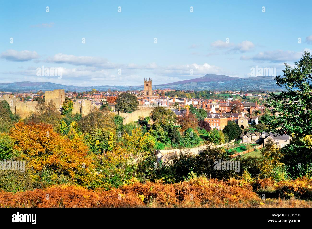 Mediaeval Ludlow town and castle, Shropshire, England. Late summer, early autumn - Stock Image