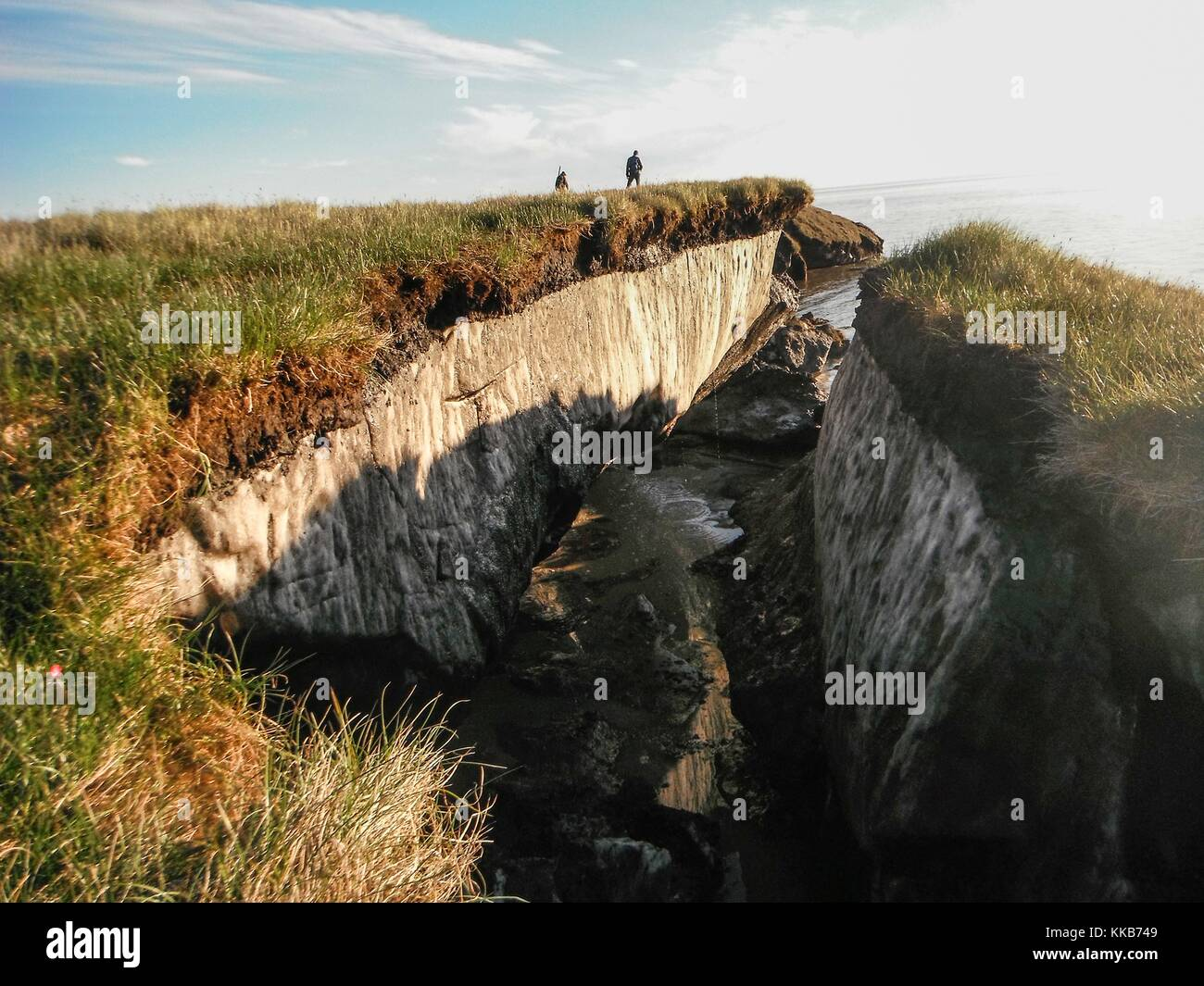 Ice-rich permafrost has been exposed due to coastal erosion, National Petroleum Reserve, Alaska. Image courtesy - Stock Image
