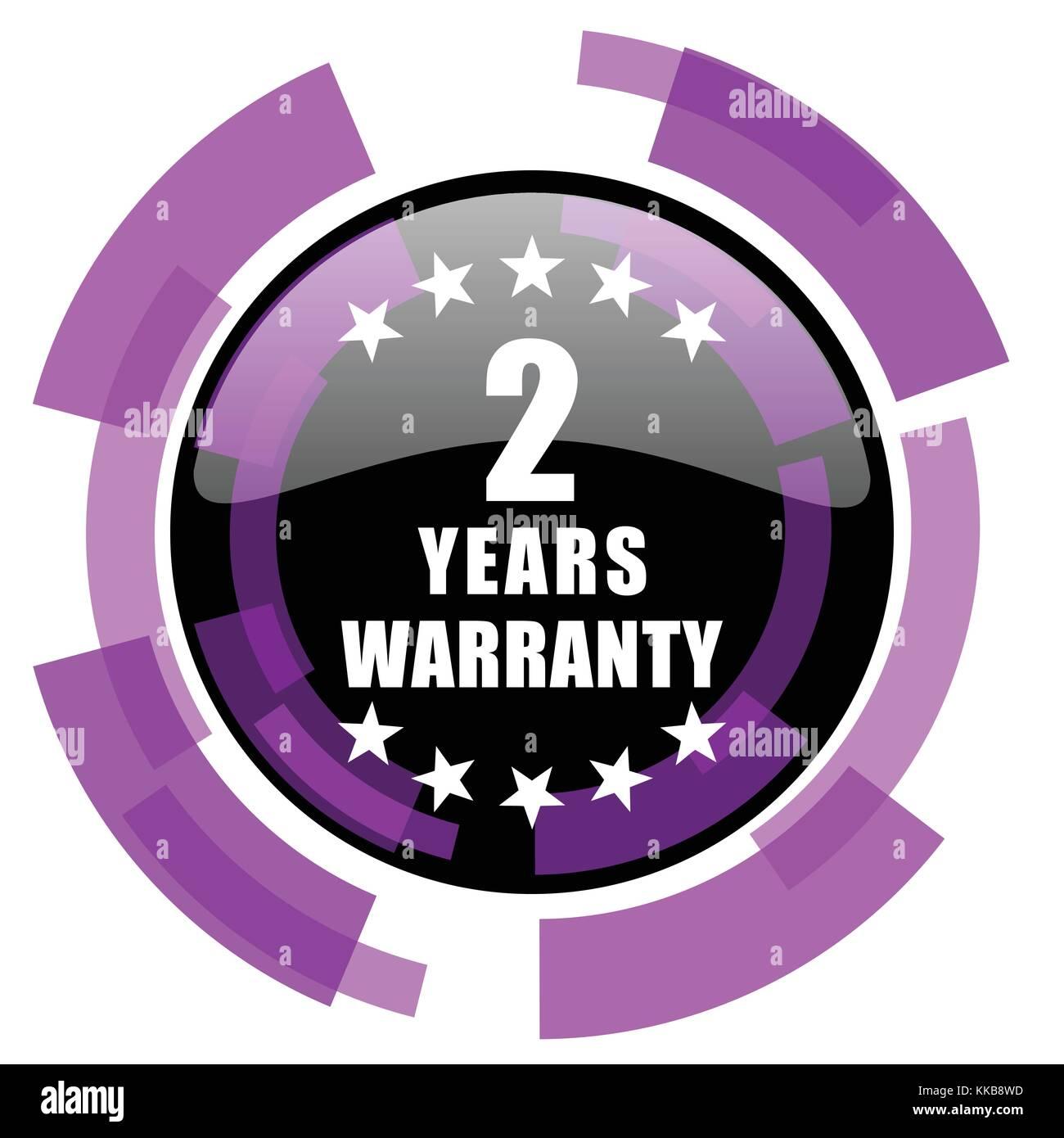 Warranty guarantee 2 year pink violet modern design vector