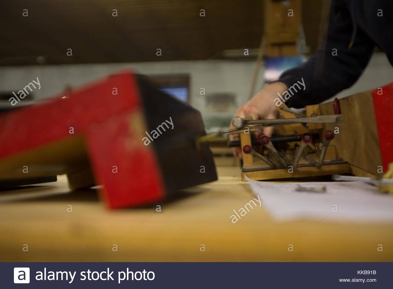 Organ Restoration Woodworking - Stock Image