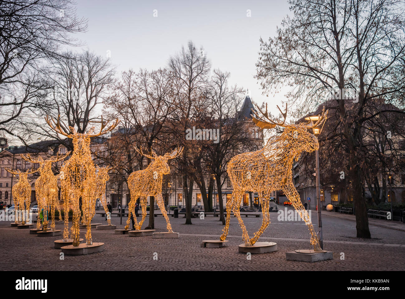 stockholm sweden december 23 2016 group of large moose sculptures made of